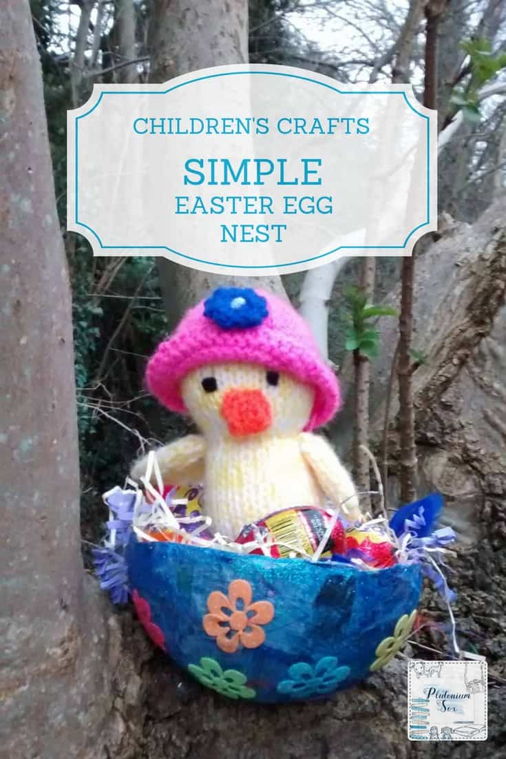 Easter egg nest craft | This simple Easter egg nest is made using a balloon, paper mache, some paint and some stickers. It is easy enough for a toddler to make with a little bit of help. Older children would be able to do the whole thing themselves. The perfect way to store Easter eggs ready for an Easter egg hunt! #kidscrafts #easter #eastercrafts #easycrafts