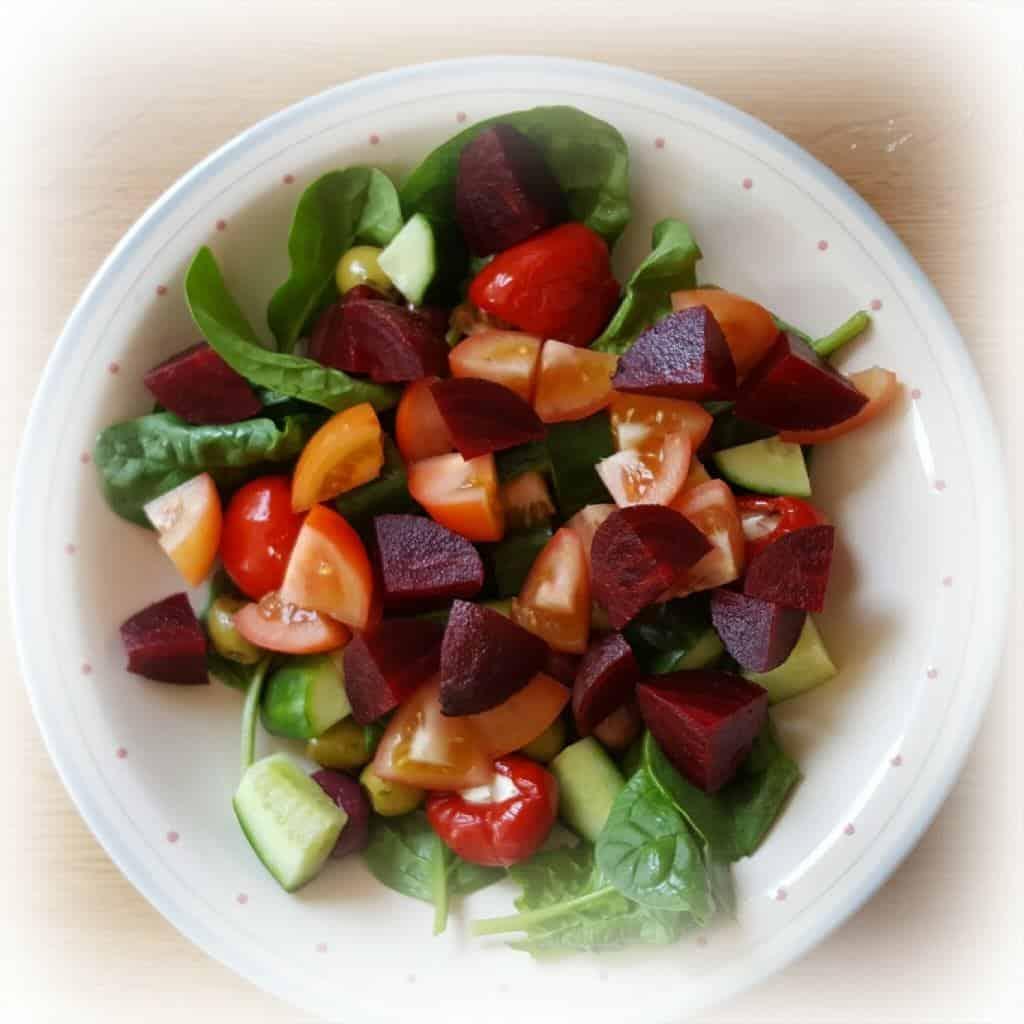 A colourful salad: a garnish for an open sandwich for British Sandwich Week