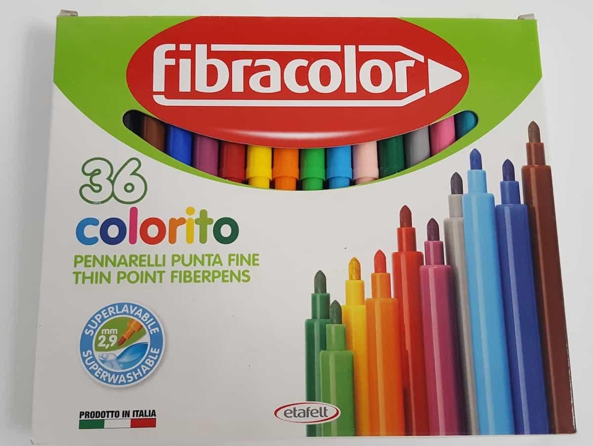 Fibracolor Colouring Pens Colori Conic Tip Fibre Super Washable Box of 100