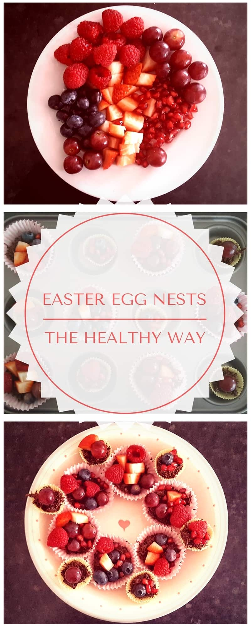 How to make healthy Easter egg nests from scratch. You even make the chocolate yourself - and it's good for you! We used fruit instead of chocolate Easter eggs to top the nests. This is a really tasty treat that is easy to make with toddlers.