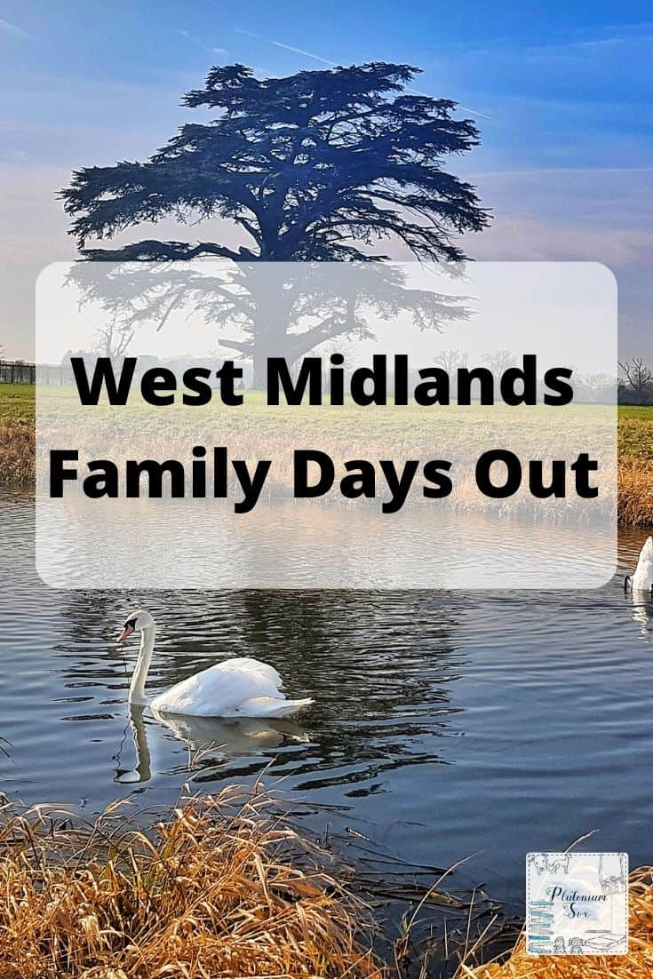 Text: West Midlands Family Days Out on background of a swan swimming on a river with a large tree the other side of the river.