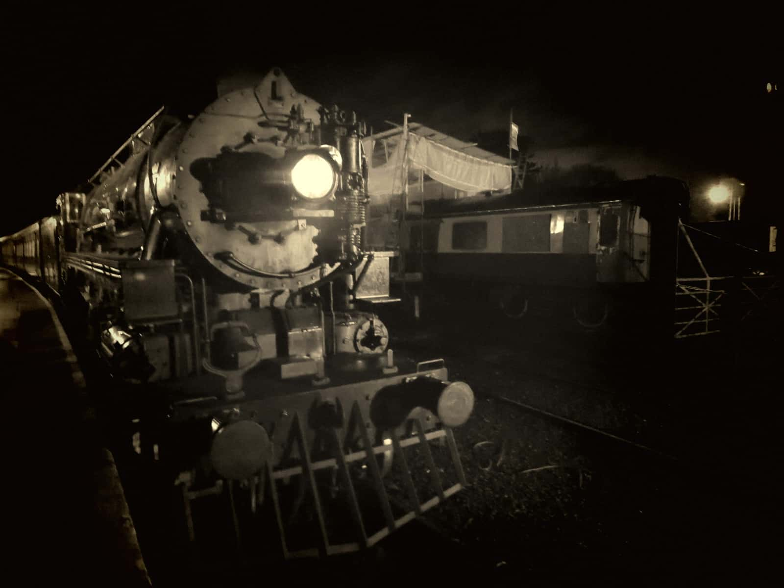 black and white photo of polar express steam engine
