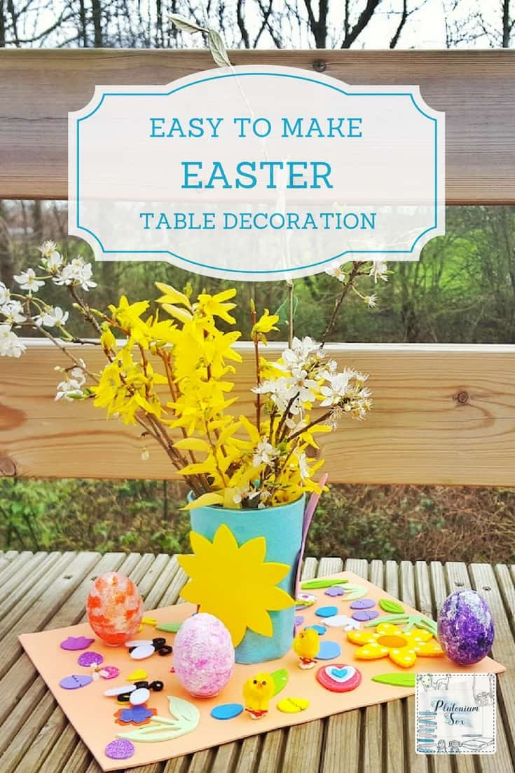 Easy Easter craft | This Easter table decoration is perfect to make with young children. As well as being a great craft activity, it gets them outdoors looking for seasonal flowers to put in their pot. #easter #eastercraft #kidscrafts #easycrafts