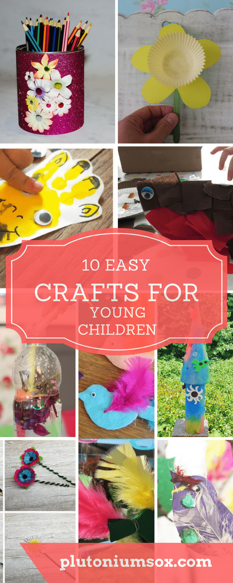Crafts for preschoolers | young children will love these 10 simple crafts. Whether you are crafting with babies, toddlers or primary school age children, you will find something that is easy enough or challenging enough for them to enjoy making. All these craft projects only need basic craft supplies.