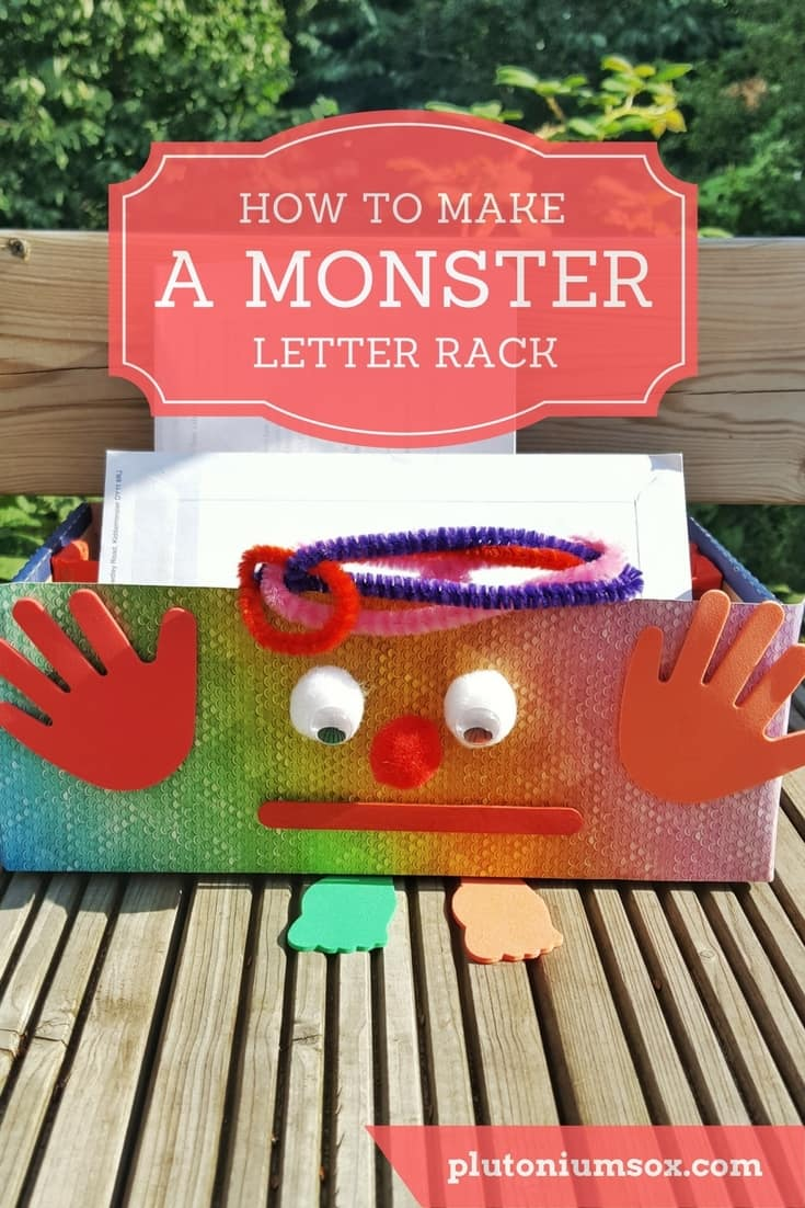 Children's craft | how to make a monster letter rack. This is an easy craft that young children can get very involved with. It allows them to create something useful and seeing it in use around the house is great for self-esteem. Full list of what you will need with easy step-by-step instructions. Can also be made without the monster face on for a more low-key letter rack.