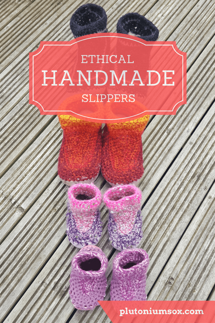 Slippers | The whole family will love these ethically manufactured slippers that were handmade on a smallholding in Scotland. The whole process from sheep rearing and shearing takes place on the same land. The wool is spun and the slippers are knitted by hand with a sheepskin base. They are available in your choice of colours and sizes from babies to adult.