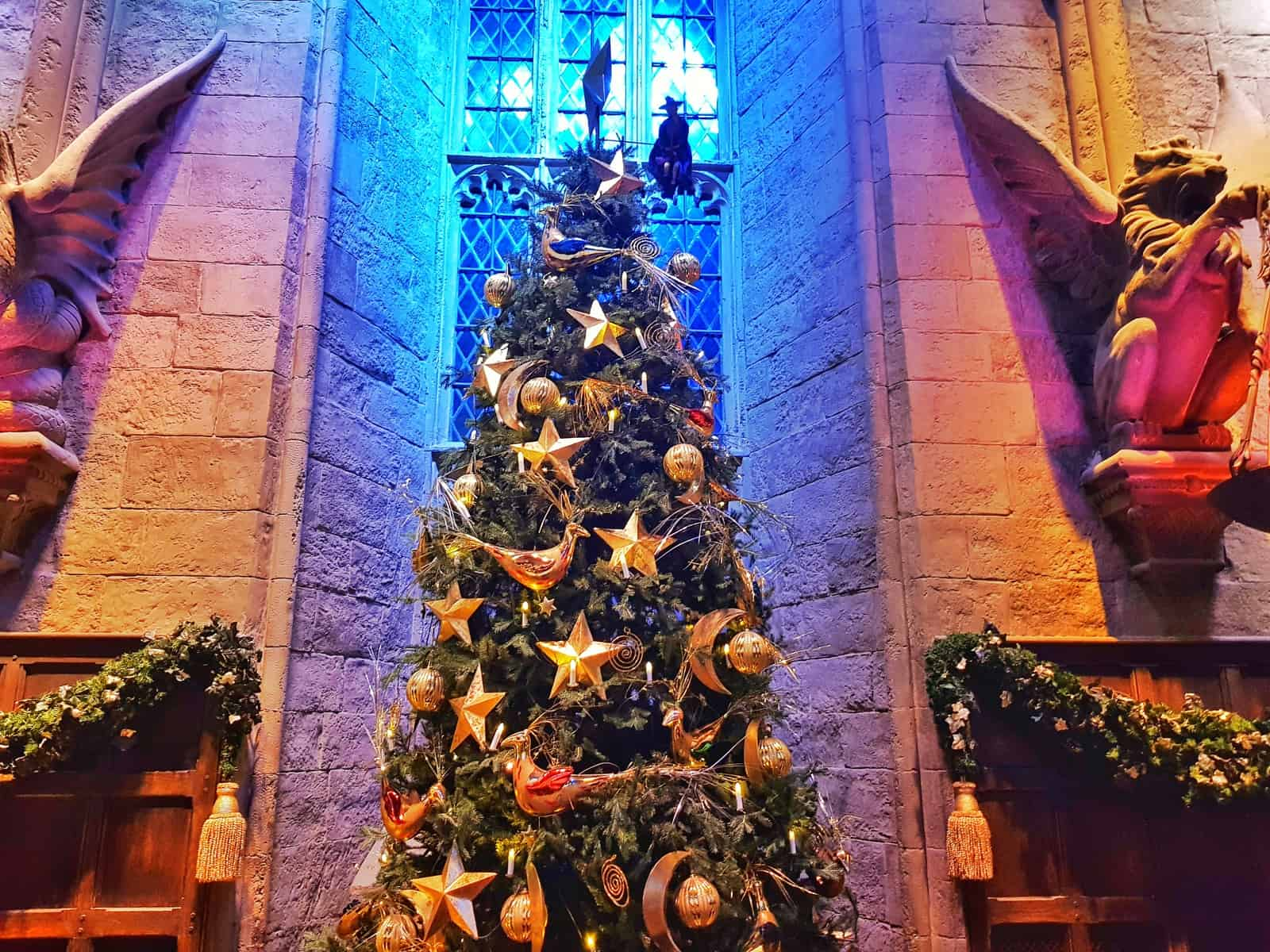 Christmas tree in the great hall at Hogwarts