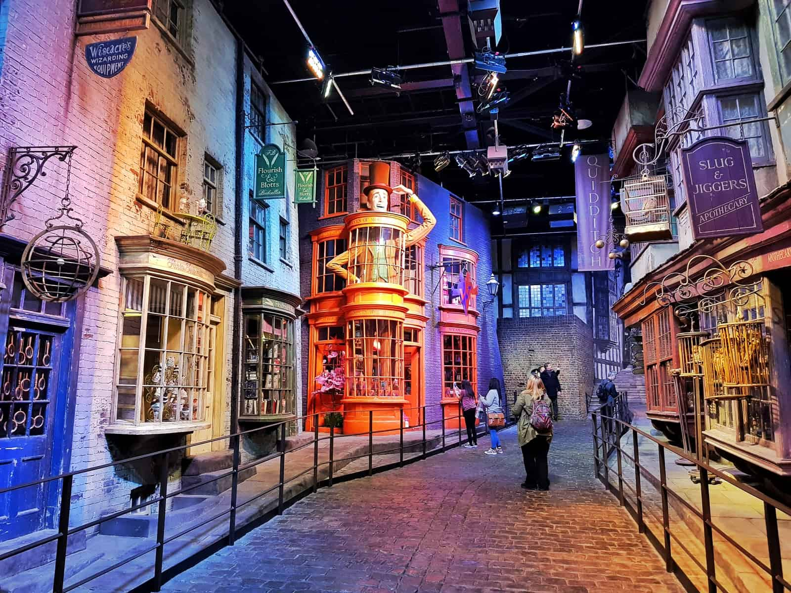 diagon alley with people walking up it