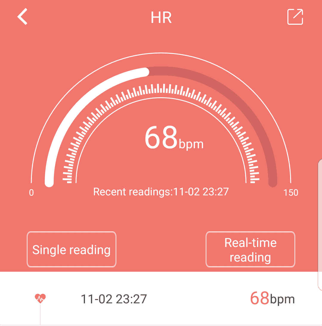 mobile screenshot of data from the FourFit health band