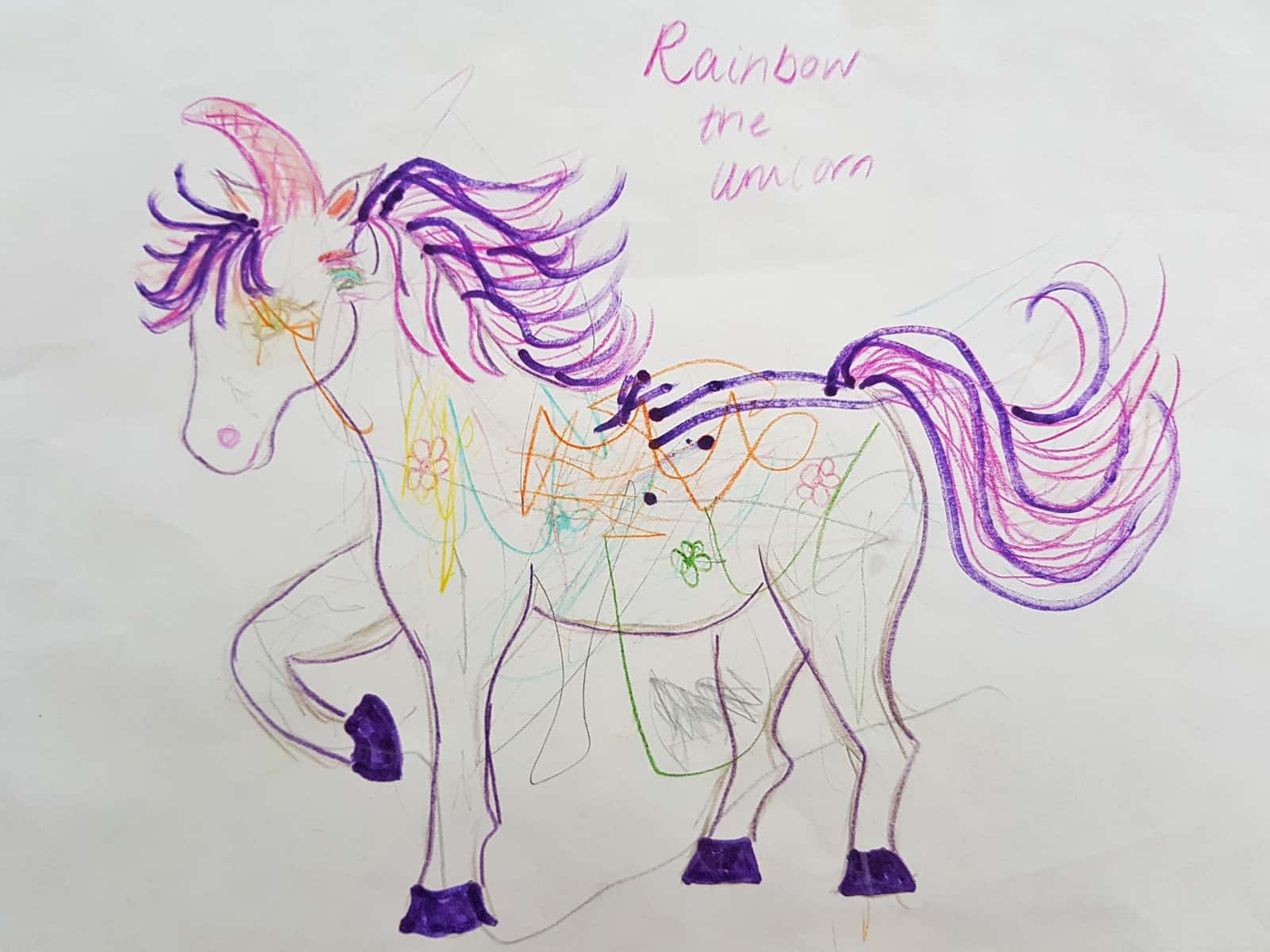A child's drawing of a unicorn