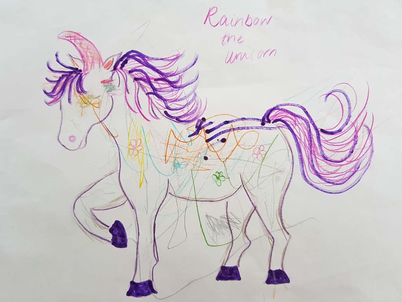 A child's drawing of a unicorn
