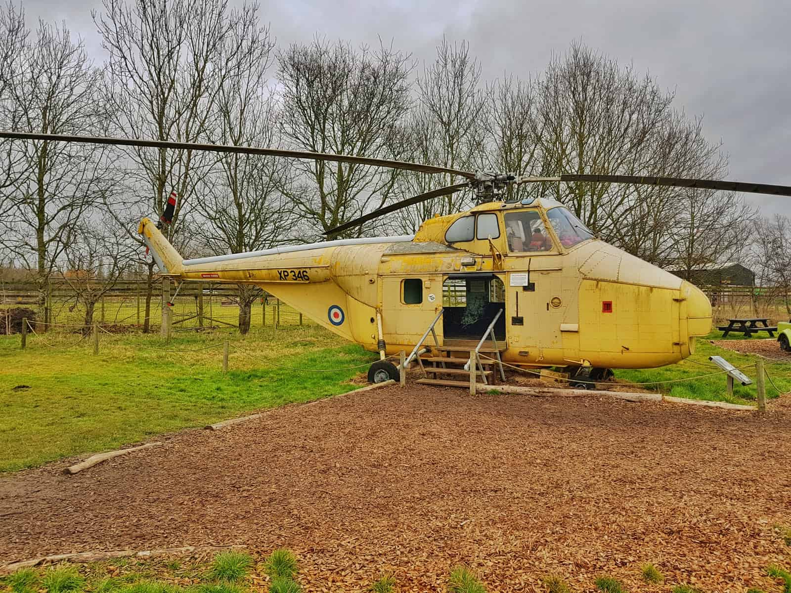 Helicopter in children's park at All Things Wild near Evesham, one of the attractions that will be opening during the school summer holidays in the West Midlands.