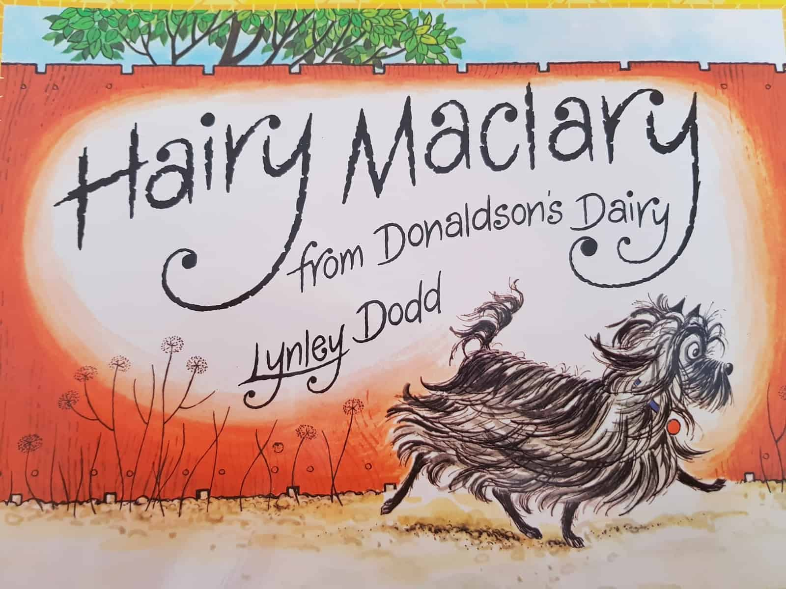 Book cover of Hairy Maclary book has scruffy dog on