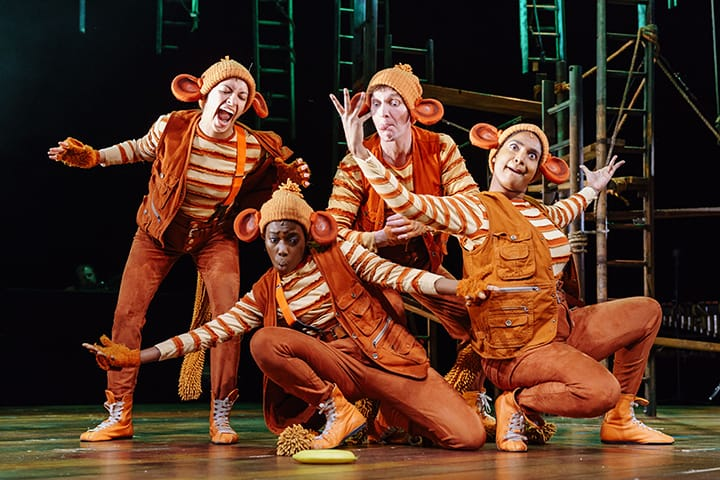 The monkeys on stage in The Jungle Book at Malvern Theatres.