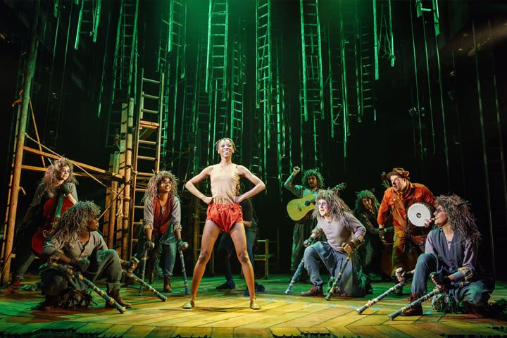 Mowgli surrounded by the wolf pack on stage in The Jungle Book at Malvern Theatres.