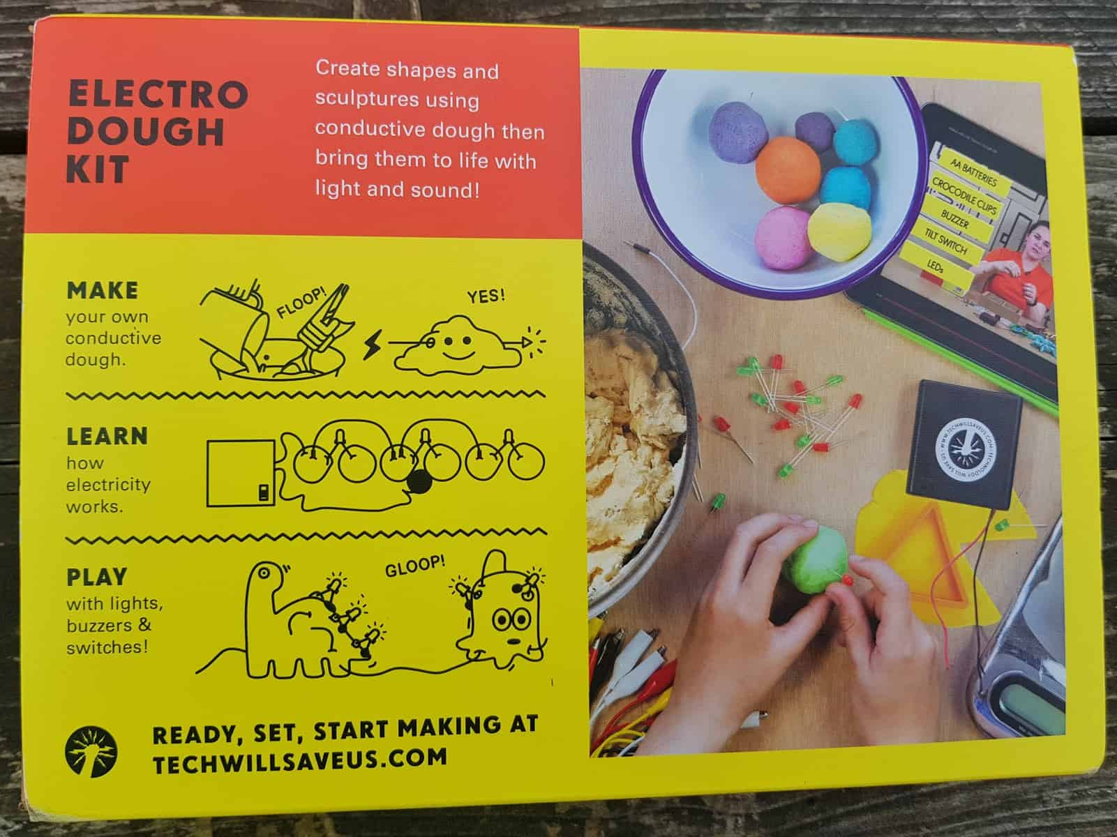 Electro dough instructions and ingredients with diagrams
