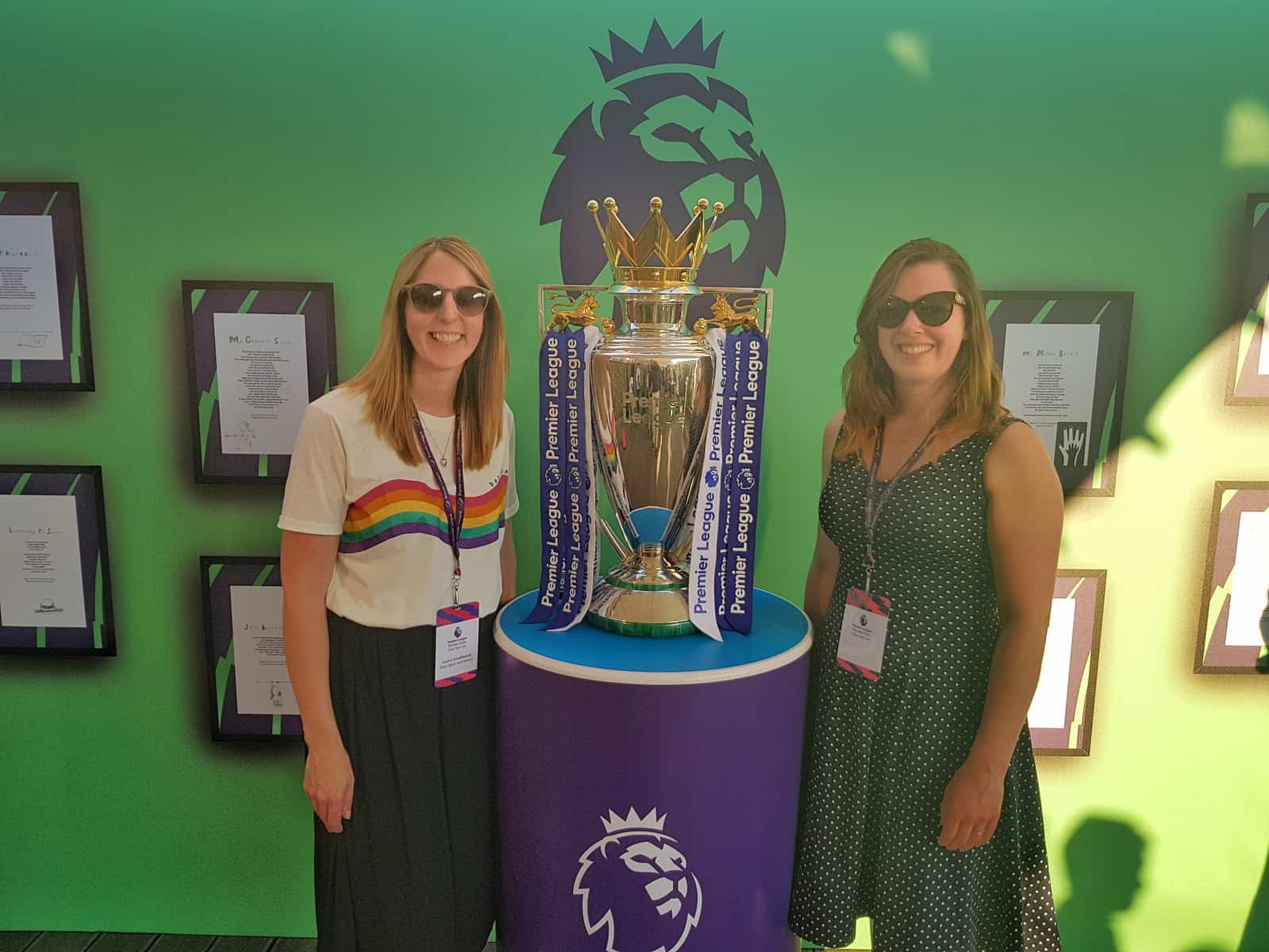 Me and Laura from Dear Bear and Beany with the Premier League Trophy at the Premier League Primary Stars one year on event