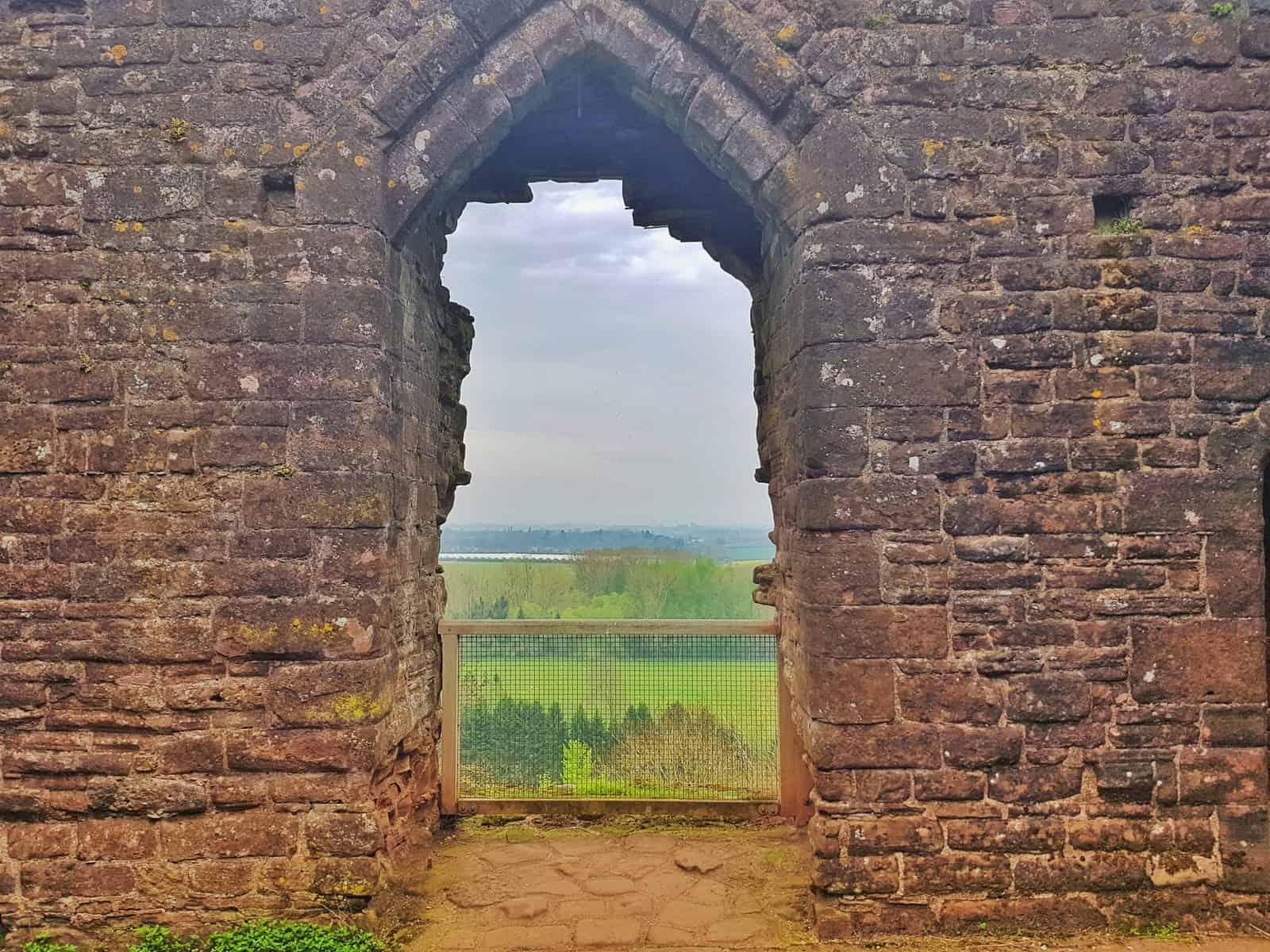 View through window of Goodrich Castle