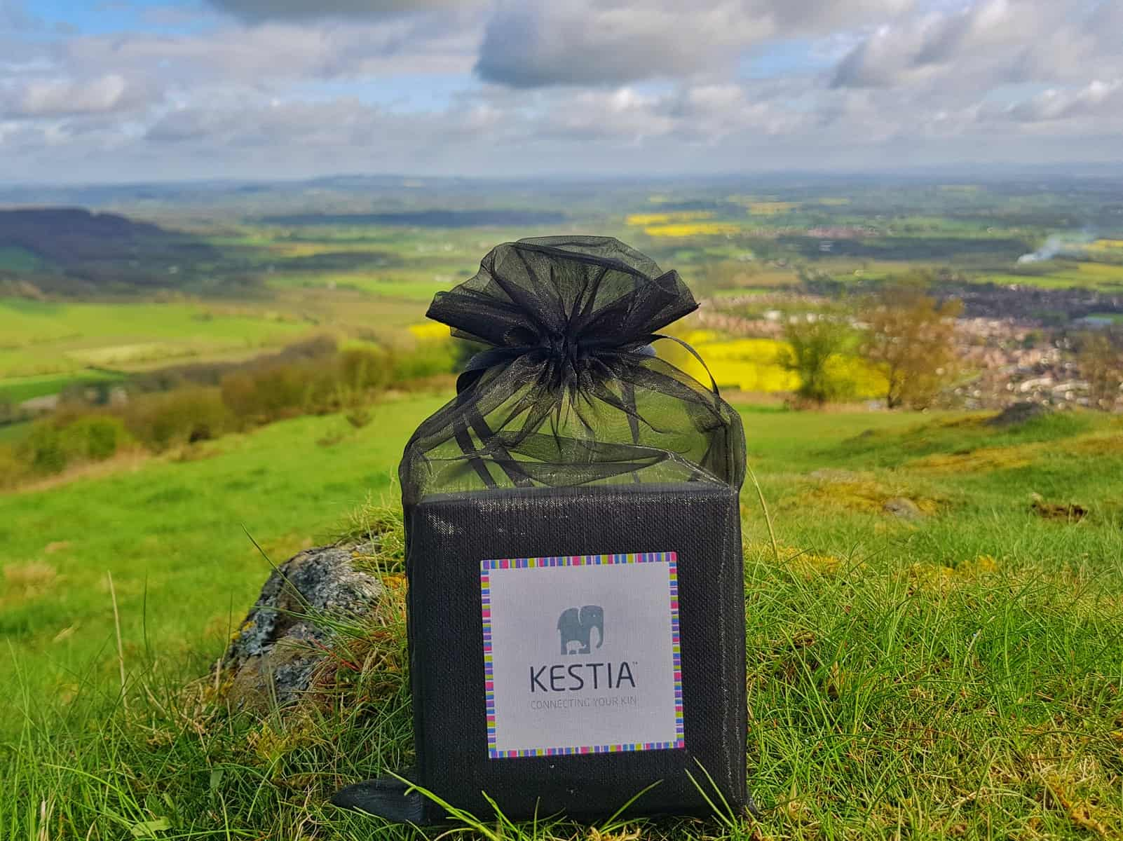 black Kestia jewellery bag with view of countryside in background