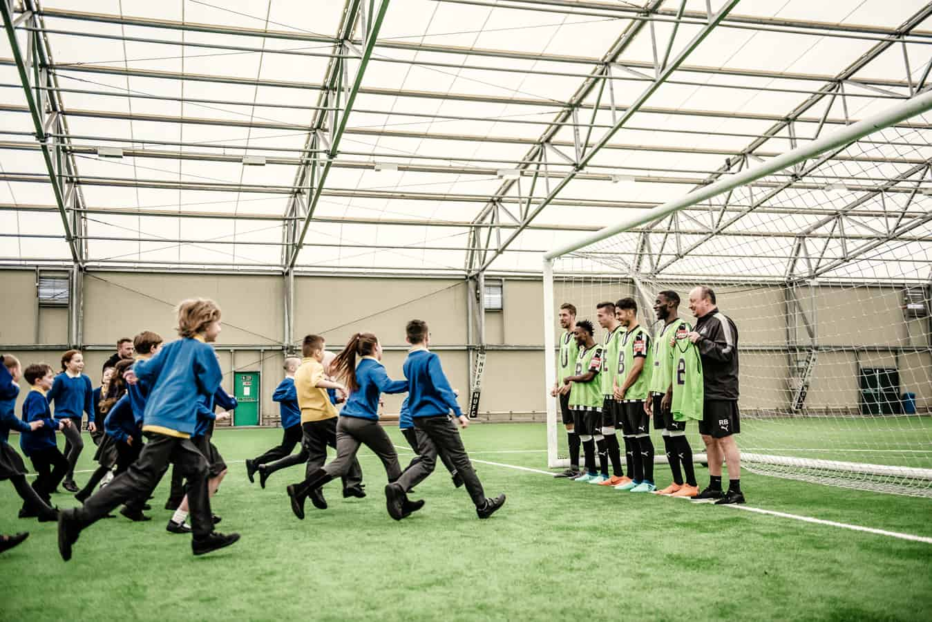 Primary school pupils meet Newcastle United FC footballers as part of the Premier League Primary Stars Best Lesson Ever
