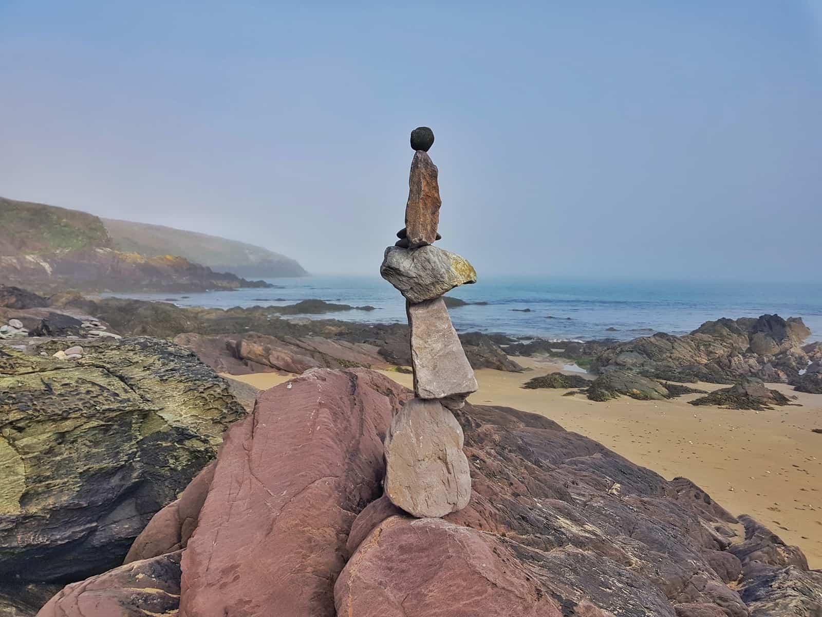 pebble stack on Porthsele, a Pembrokeshire beach near Pencarnan farm