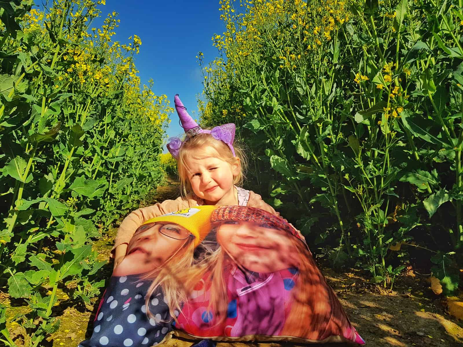 little girl sat in field of oilseed rape holding cushion with a photo of two little girls on it