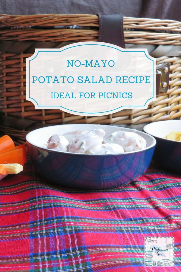 Potato Salad Recipe | If you're not keen on mayonnaise, you may prefer this potato salad recipe with no mayo, it uses natural yoghurt instead. This one is made with Jersey Royals, which have their own distinctive taste that is complemented by the other ingredients and the recipe is perfect for a picnic. #recipe #salad #potatosalad #picnic #nomayo