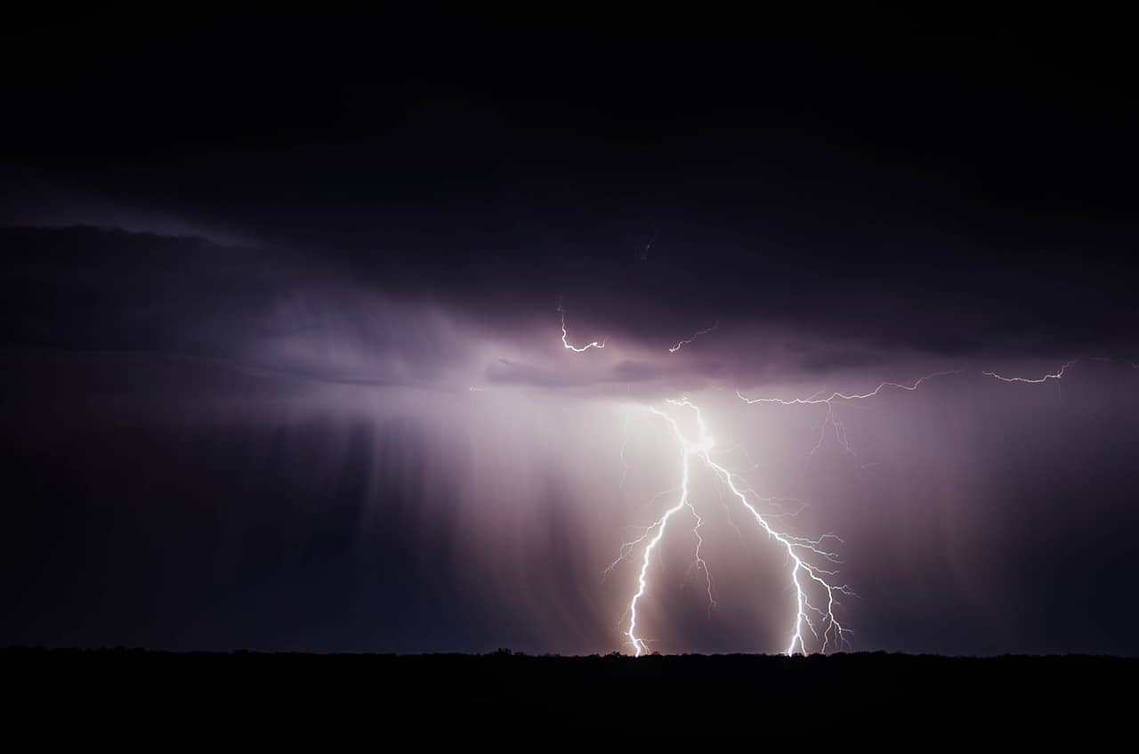 The perfect storm of freelance work - bolts of lightening against a dark sky