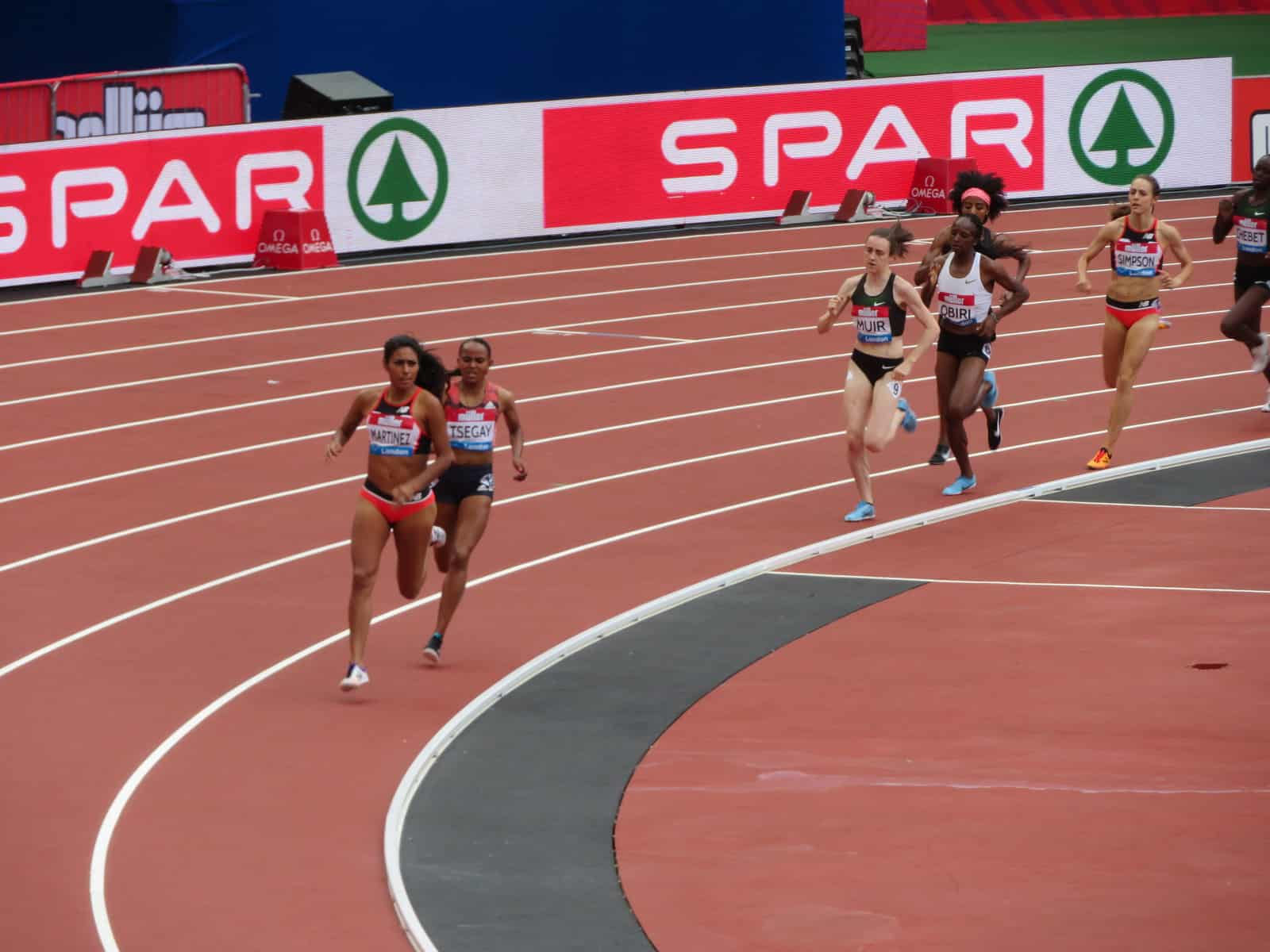 Laura Muir running in the mile race during the Muller Anniversary Games