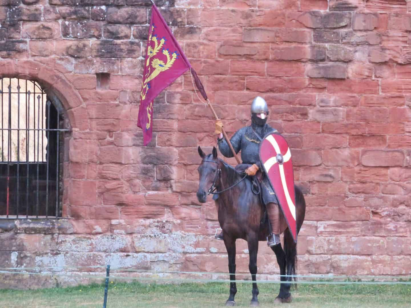 Kenilworth Castle Warwickshire knight on horseback
