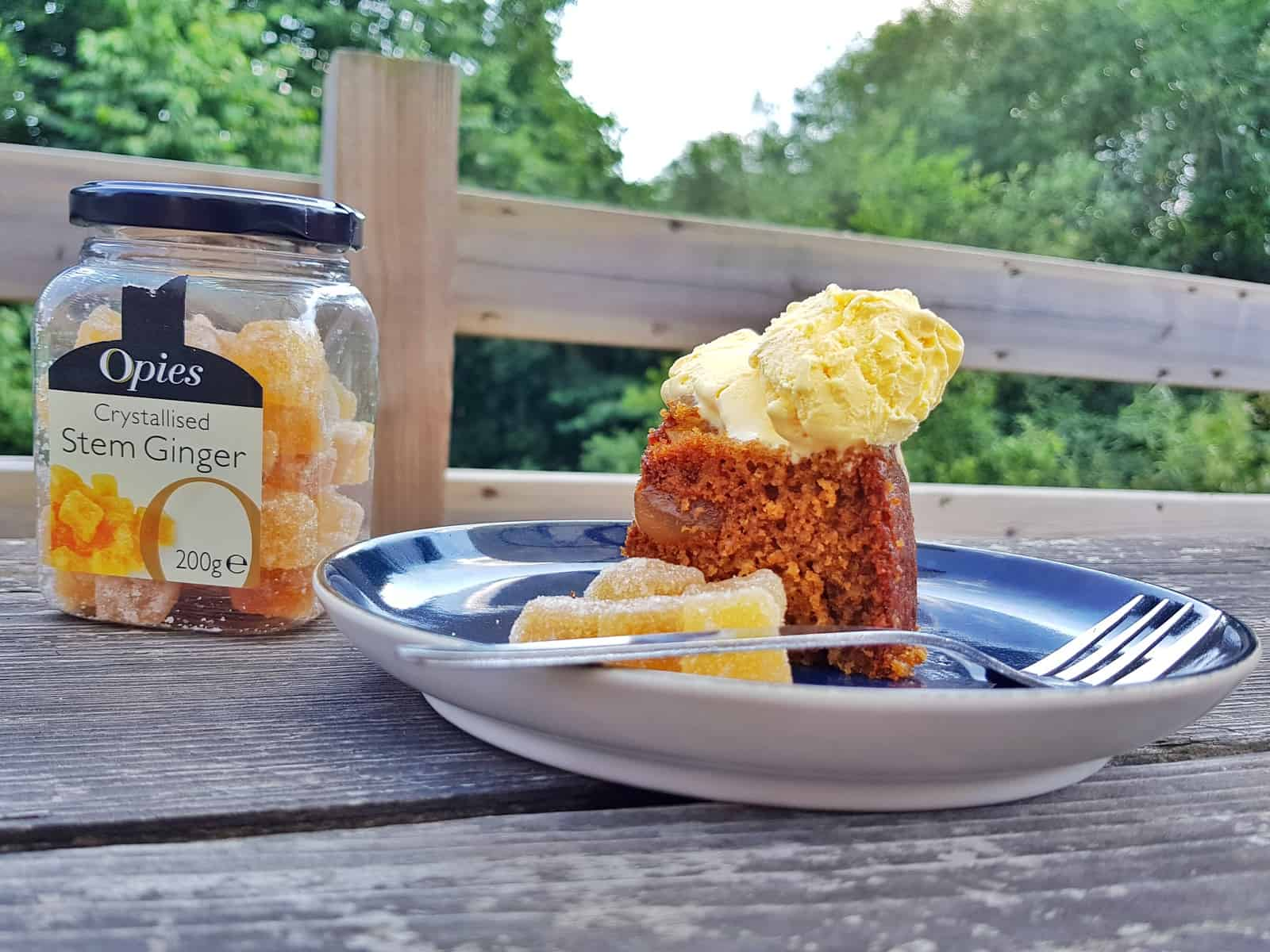 jar of opies crystallised stem ginger with ginger cake and vanilla ice cream