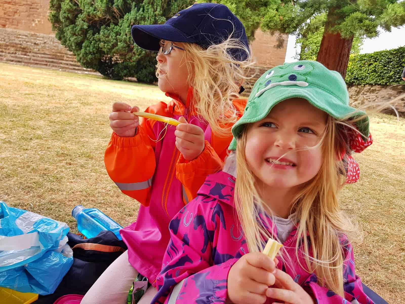 Pik-Nik cheese sticks two girls eating