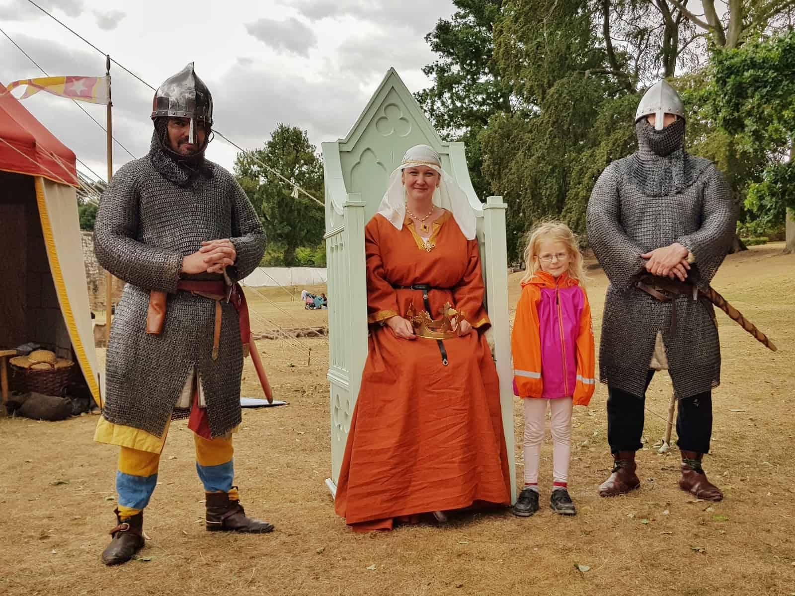 Kenilworth Castle Warwickshire Empress Matilda and knights at Norman Castle event