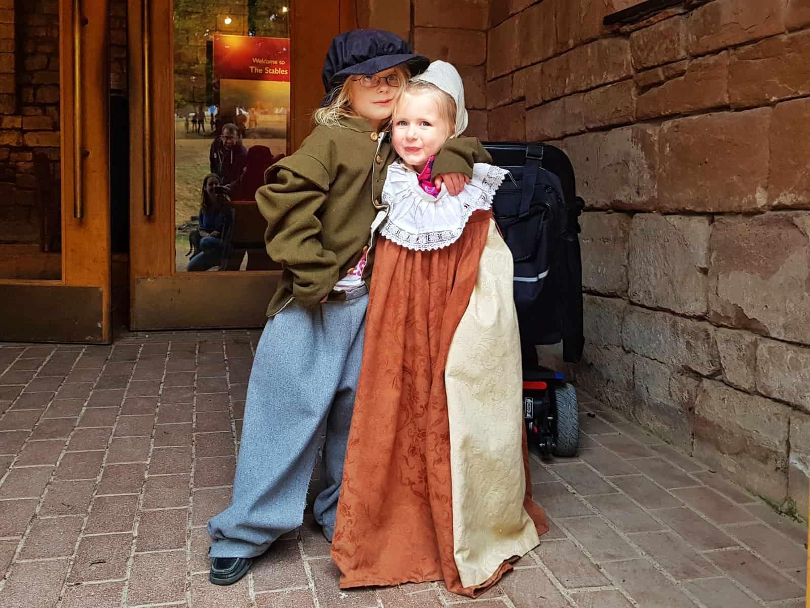 Kenilworth Castle Warwickshire children in period costumes