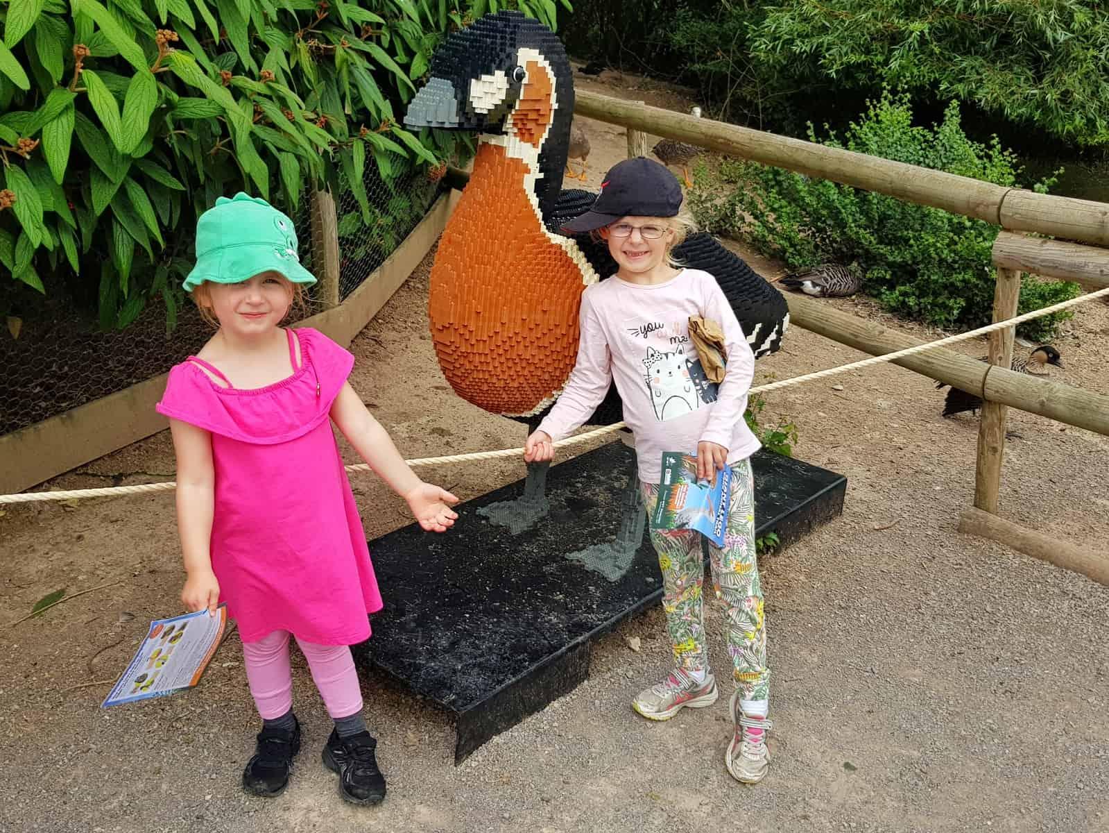 WWT Slimbridge, Gloucestershire - little girls with giant lego goose