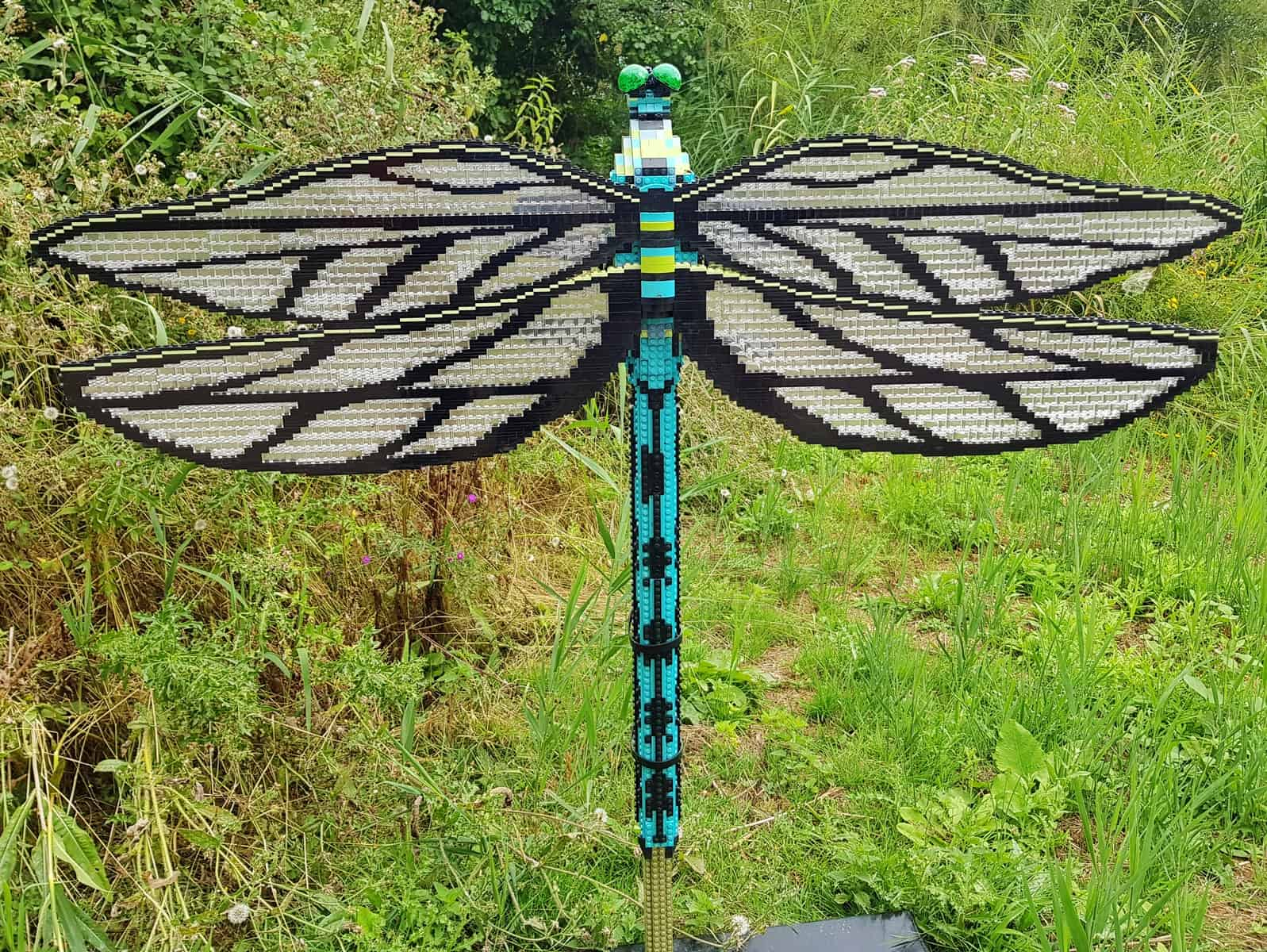 WWT Slimbridge, Gloucestershire - giant lego dragonfly