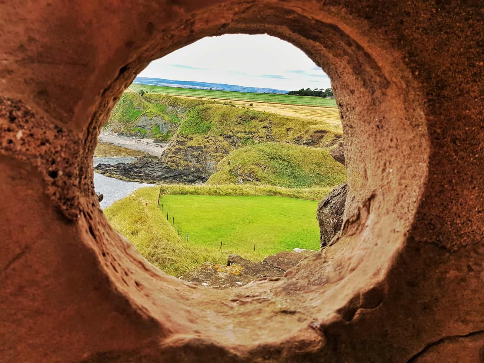 Tantallon Castle and Seacliff Beach East Lothian Scotland - view through circular window