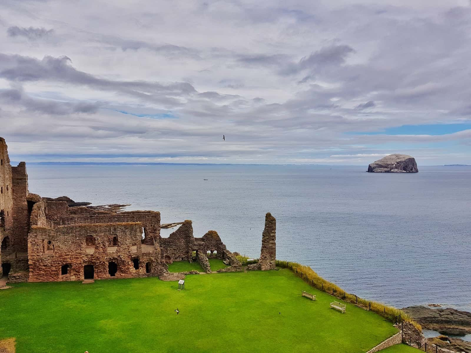 Tantallon Castle and Seacliff Beach East Lothian Scotland - view of bass rock from tower