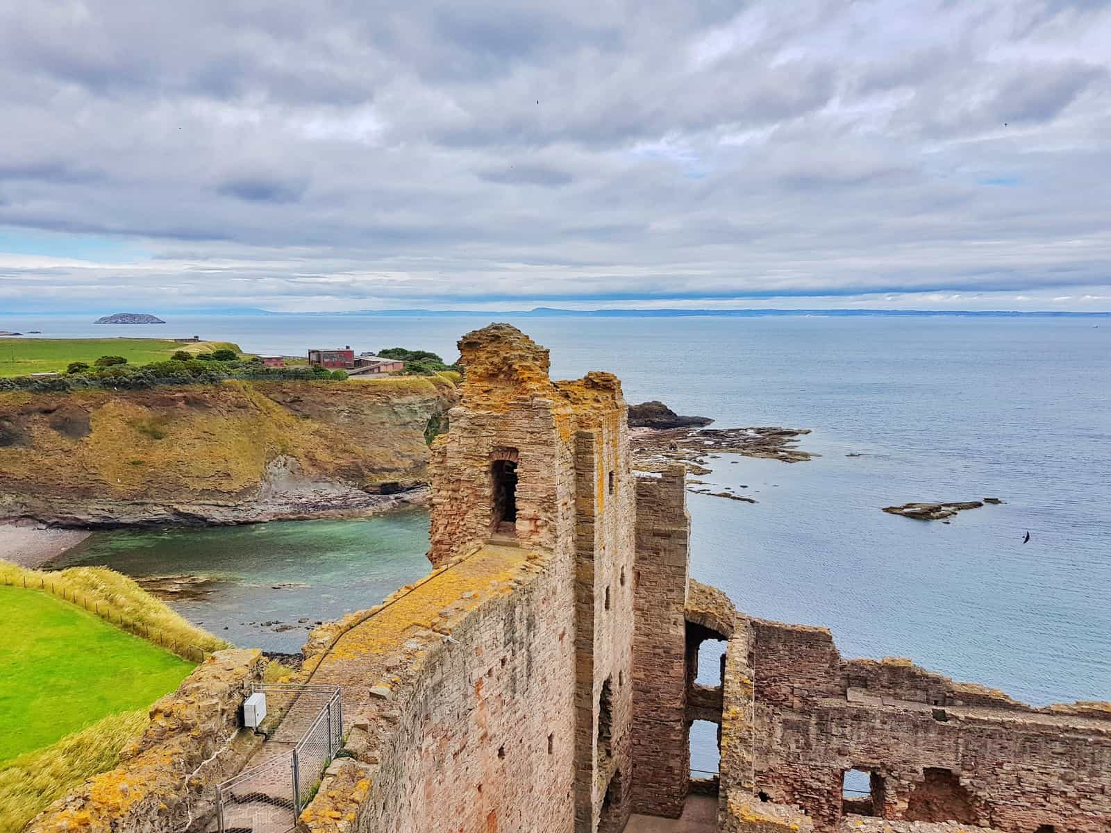 Tantallon Castle and Seacliff Beach East Lothian Scotland - view from tower