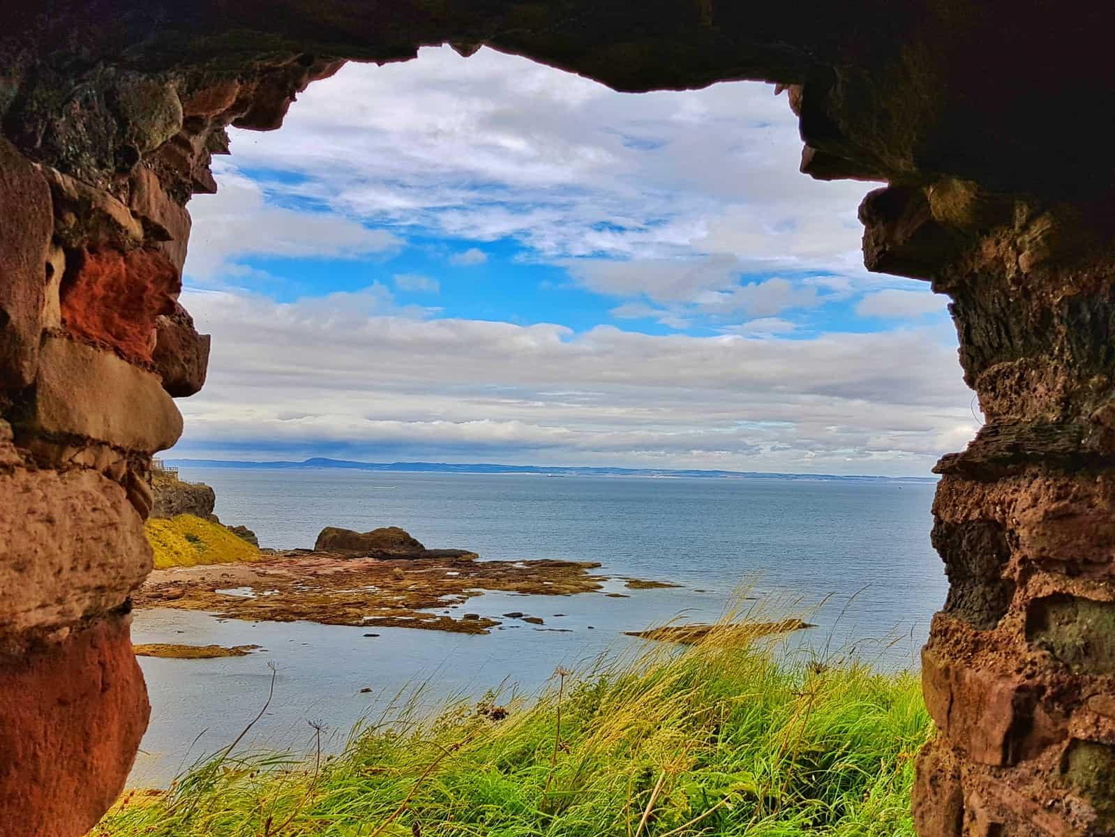 Tantallon Castle and Seacliff Beach East Lothian Scotland - view through window of castle