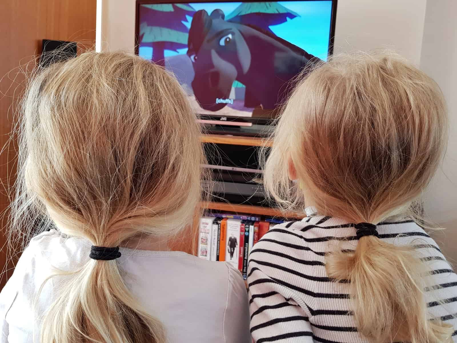 The Spirit Riding Free Stable Sleepover Competition children watching horse on television