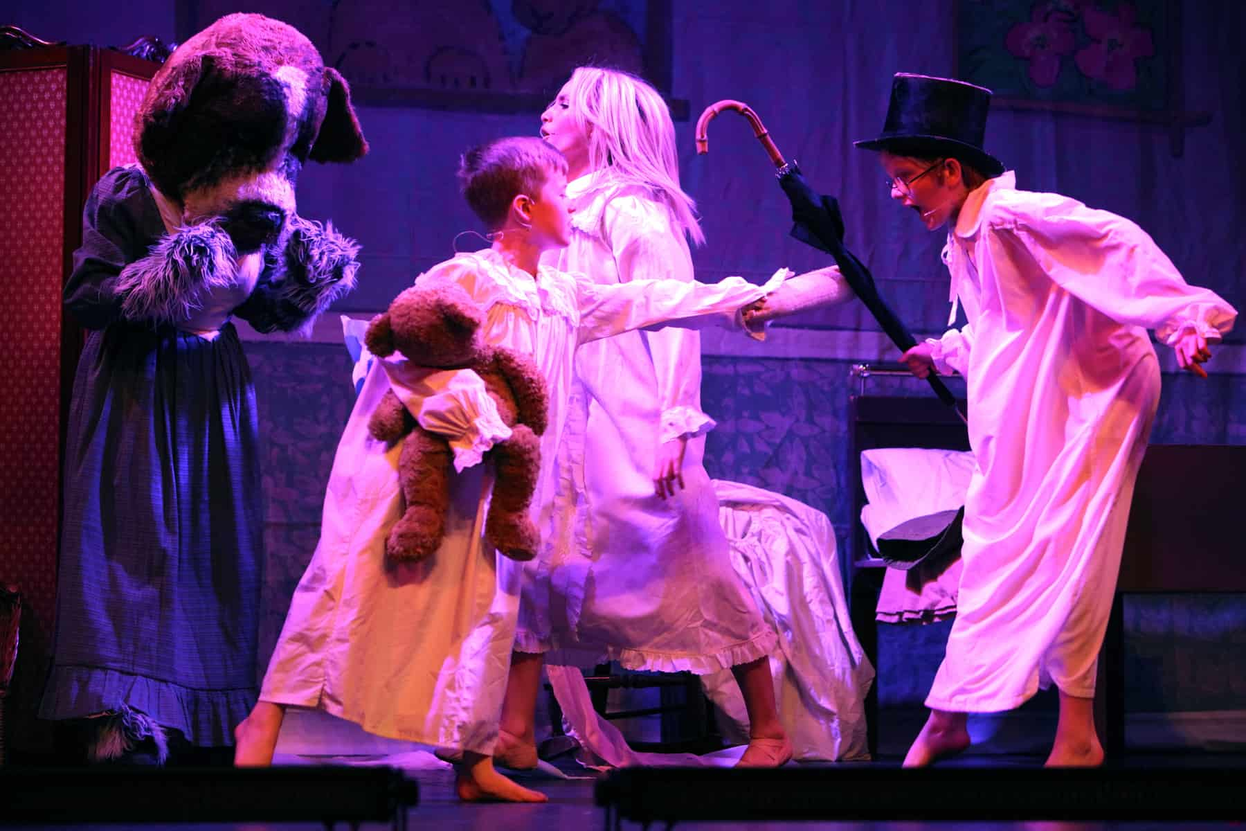 Peter Pan at Malvern Theatres children in night gowns