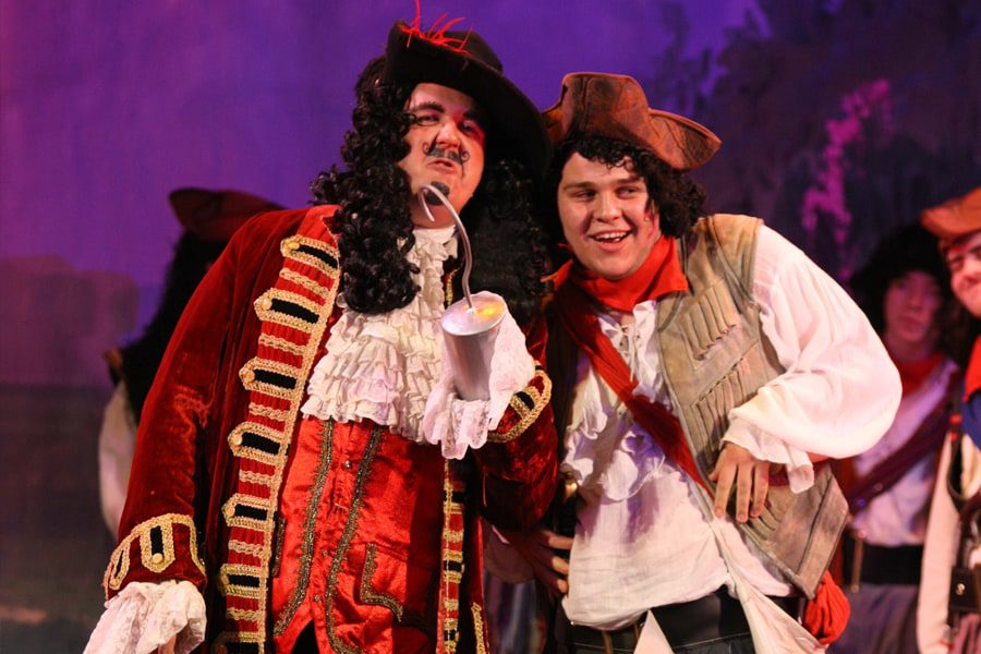 Peter Pan at Malvern Theatres captain hook and Smee