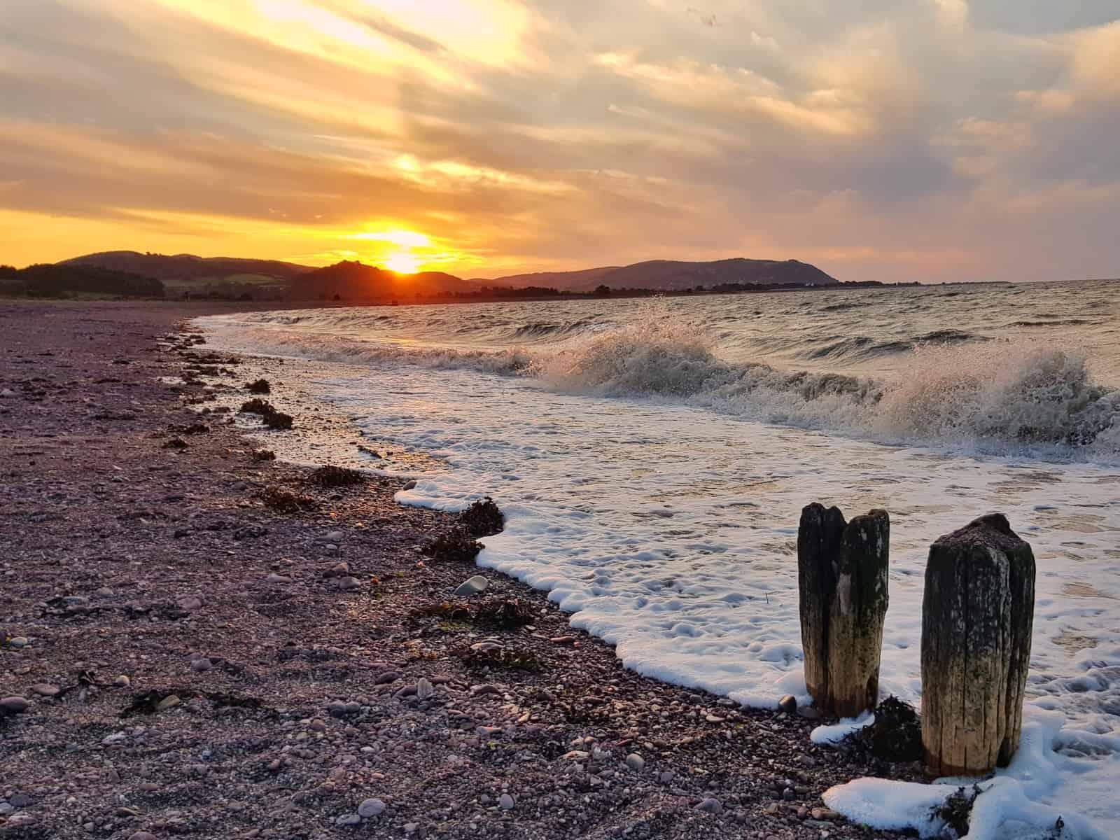 Hoburne Blue Anchor beach at sunset