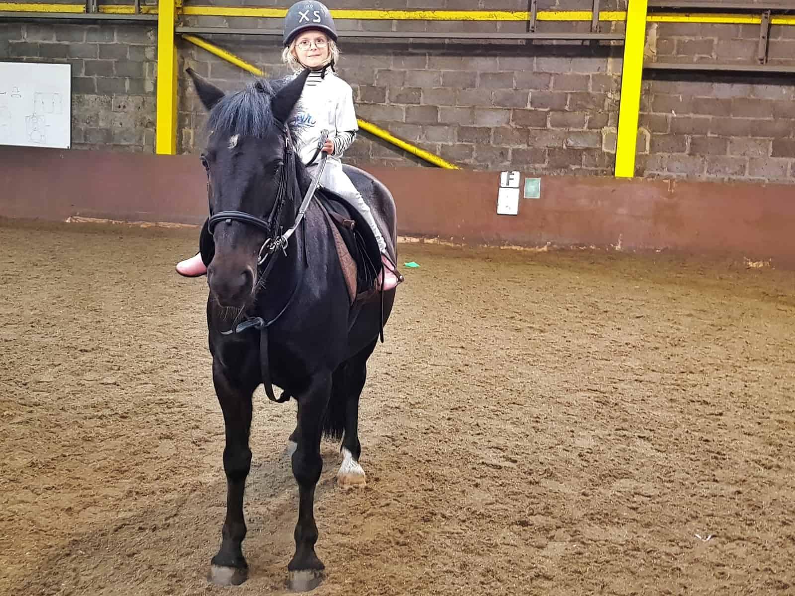 Spirit Riding Free Stable Sleepover girl on a black pony