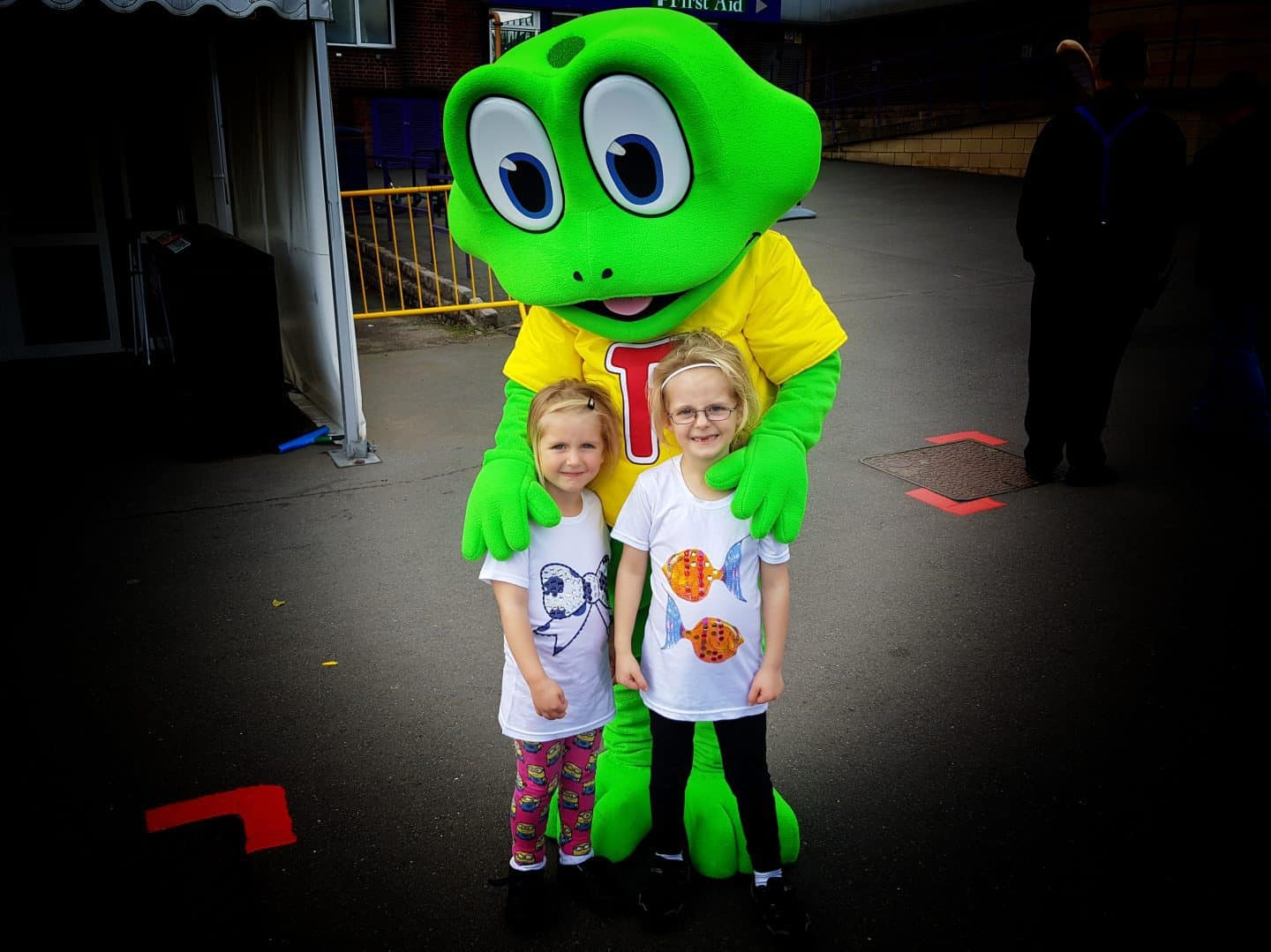 Little girls with Freddo frog