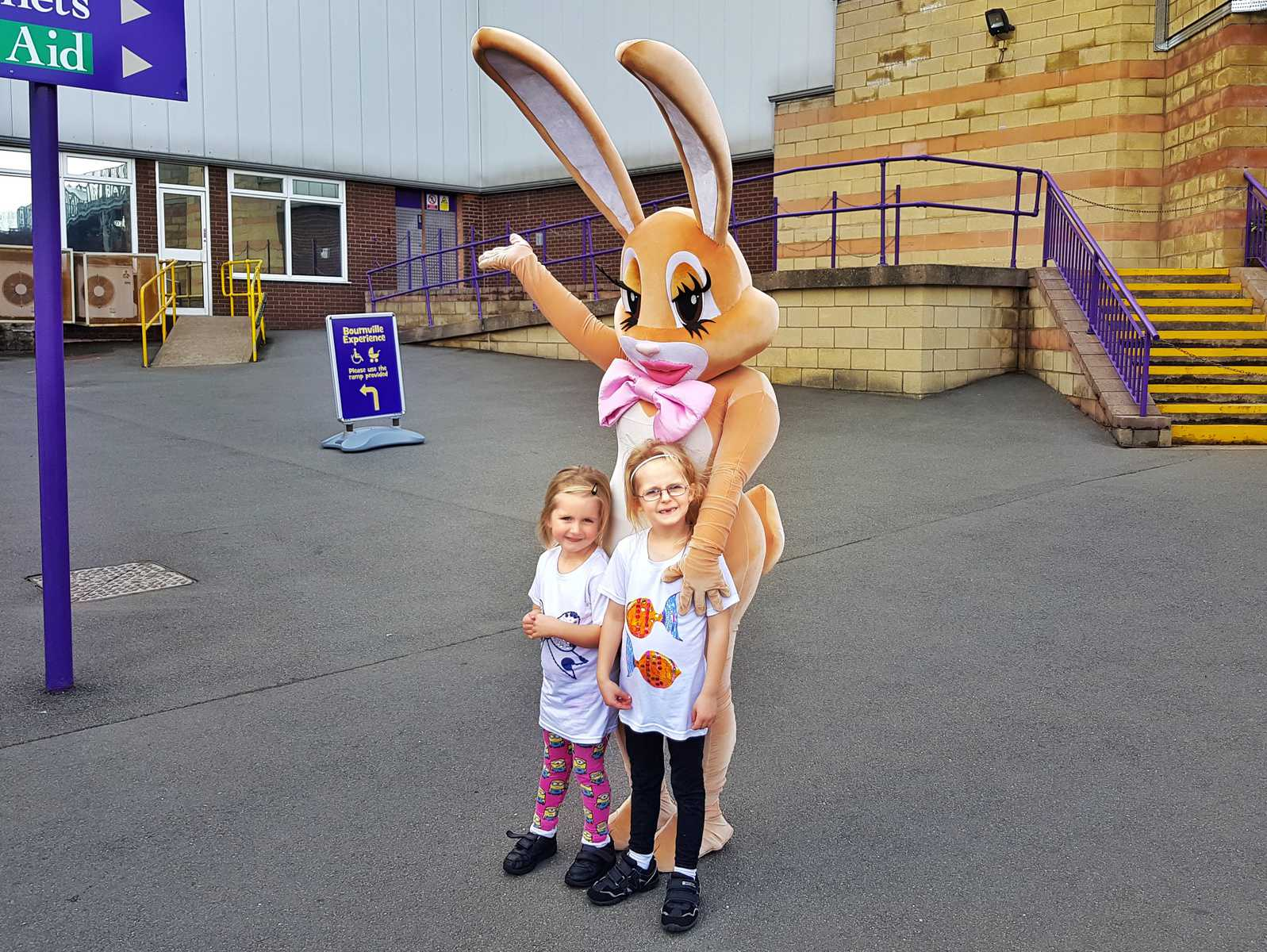 A family day out at Cadbury World Birmingham little girls with cadbury bunny