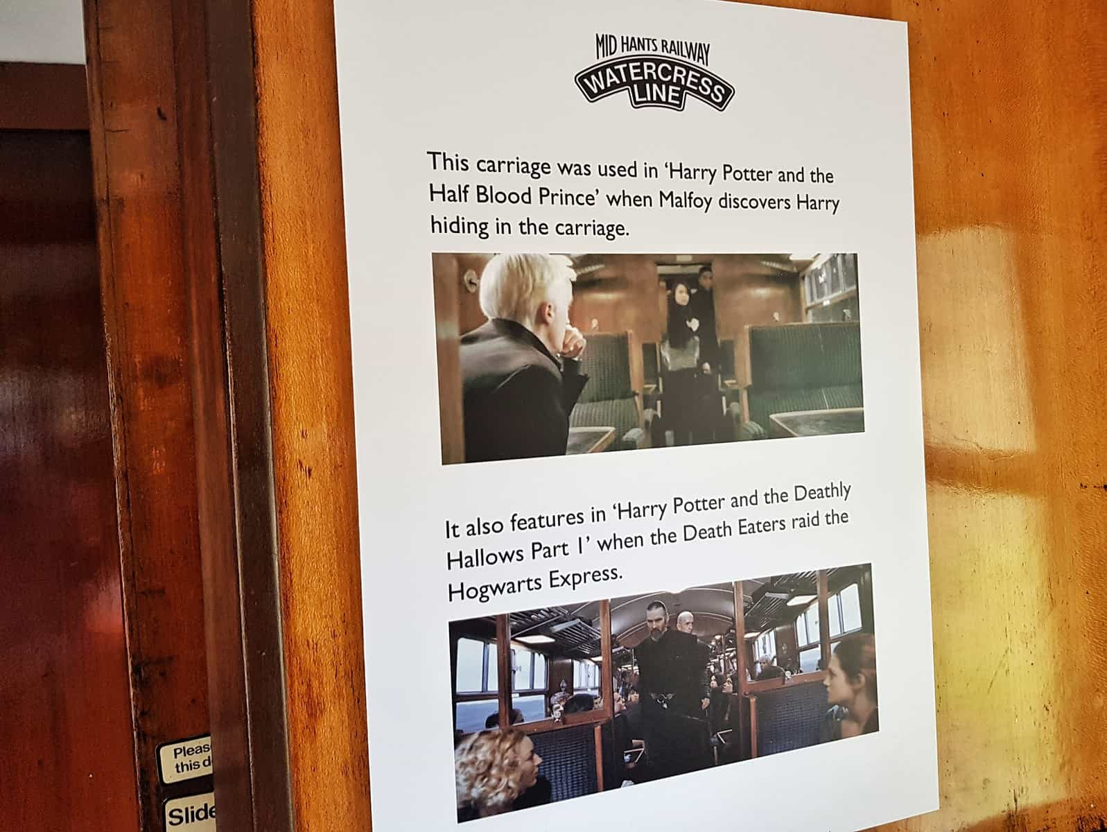 Watercress Line sign about Harry Potter train carriage