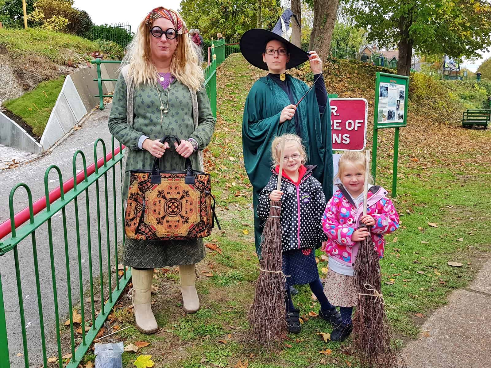 Watercress Line girls with Hogwarts teachers