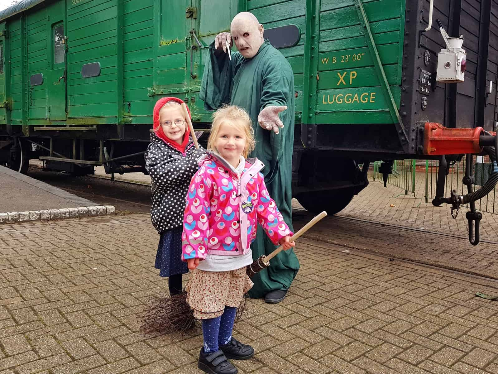 Watercress Line girls with Voldemort